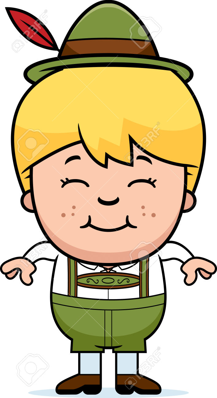 A Cartoon Illustration Of A German Boy In Lederhosen Smiling.
