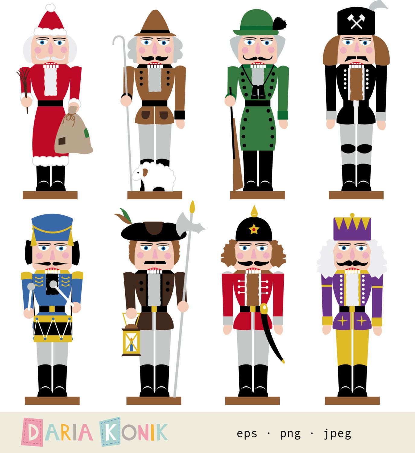 Nutcracker Clip Art Set.