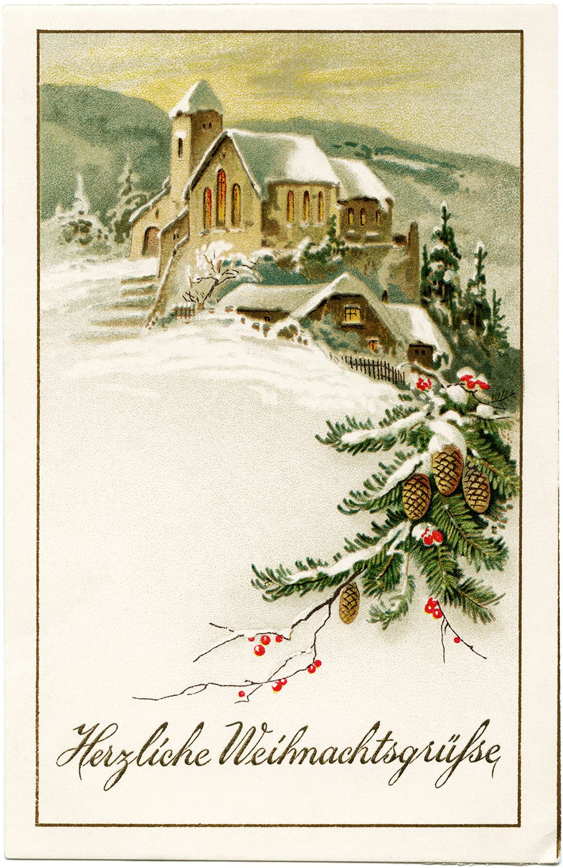 German Christmas postcard, vintage Christmas clip art, snowy.