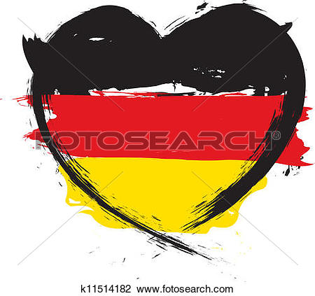 Clipart of painted german flag with heart shape symbol k15931171.
