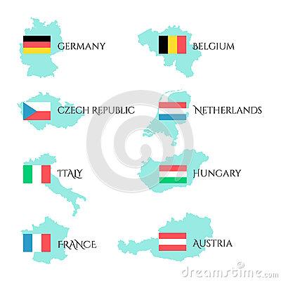 Set With European Flags And Border Of Their Country. Stock Vector.