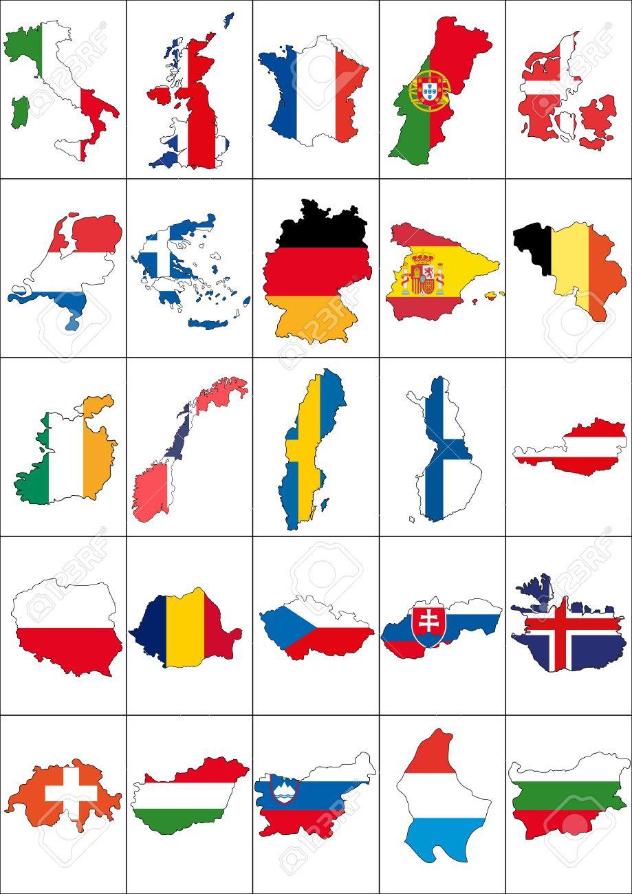 Illustration Set Of Flag And Border Europe Nations Royalty Free.