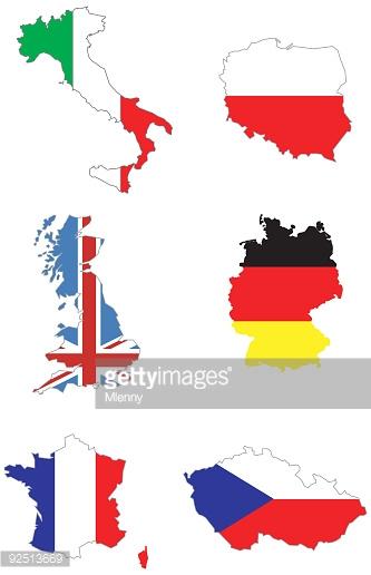 Italy Poland Uk Germany France Czech Republic Map Stock.