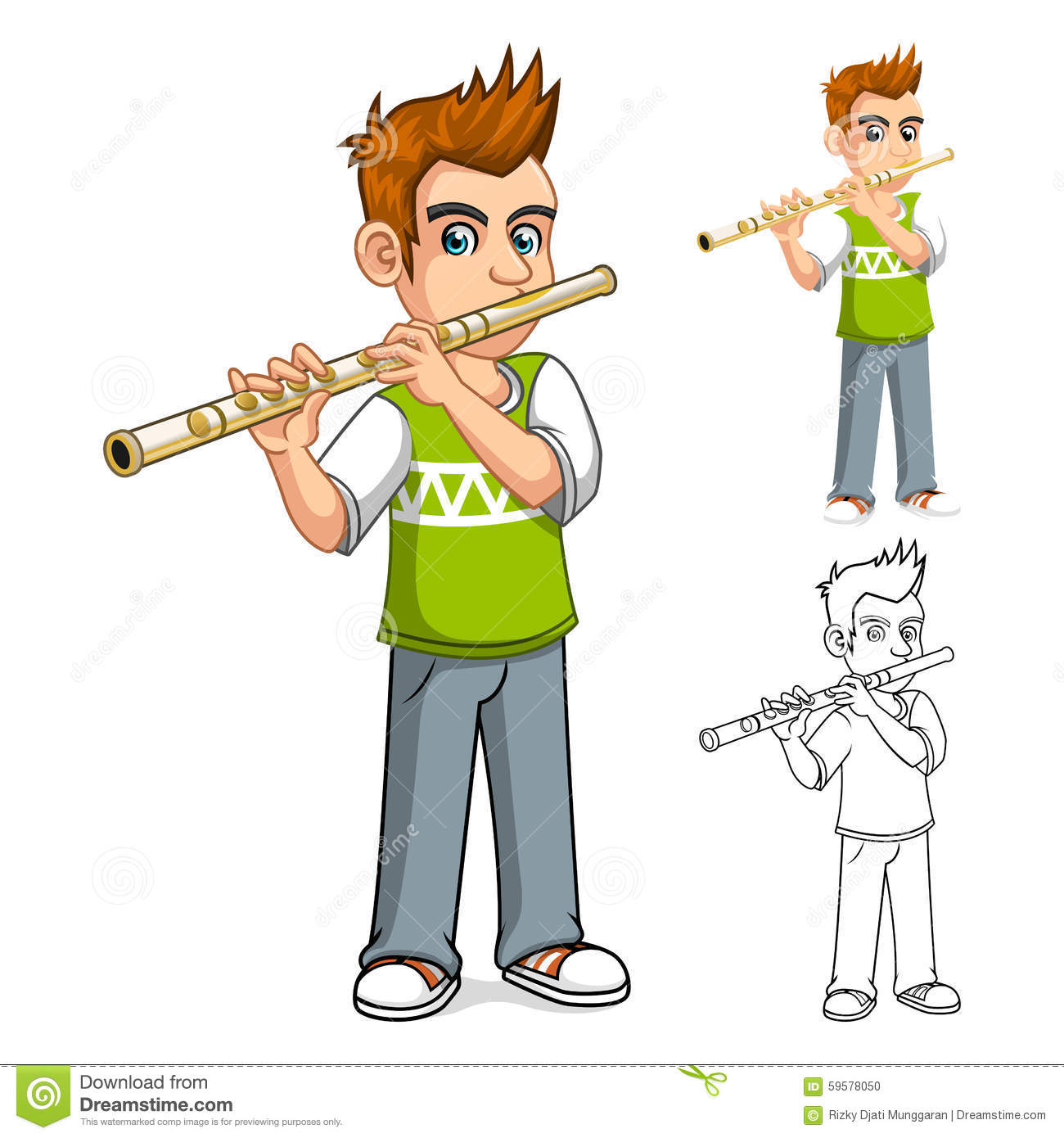 Watch more like Cartoon Flute Player.