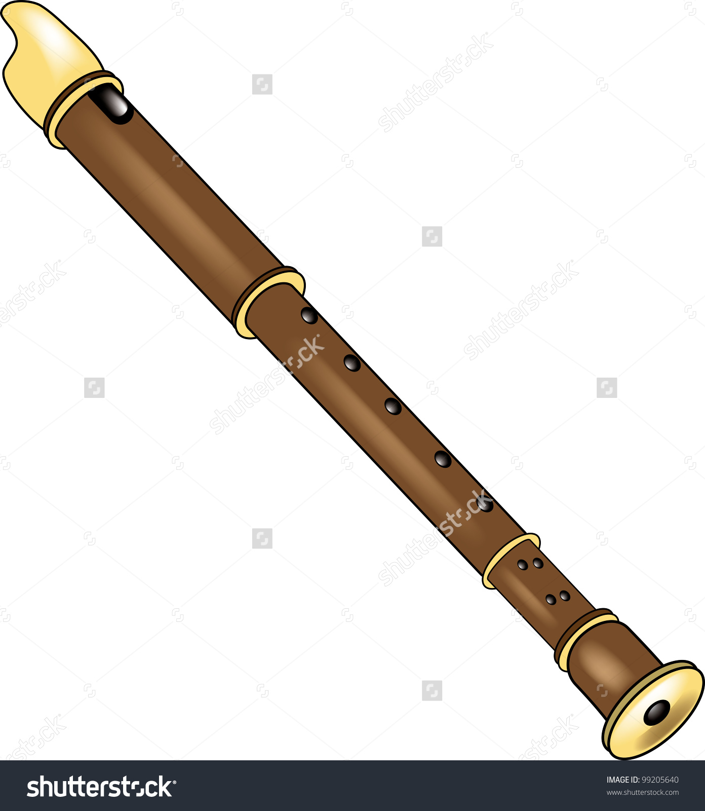Clip Art Illustration Recorder Flute Stock Illustration 99205640.