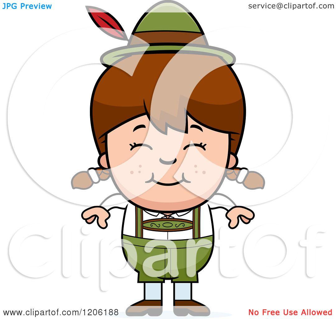 Cartoon of a Happy Brunette Oktoberfest German Girl.