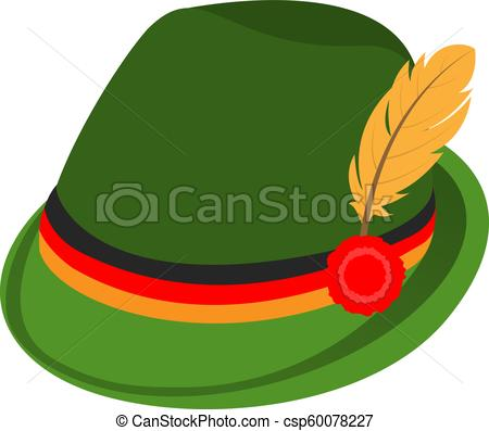 Green traditional german hat icon, isometric style.