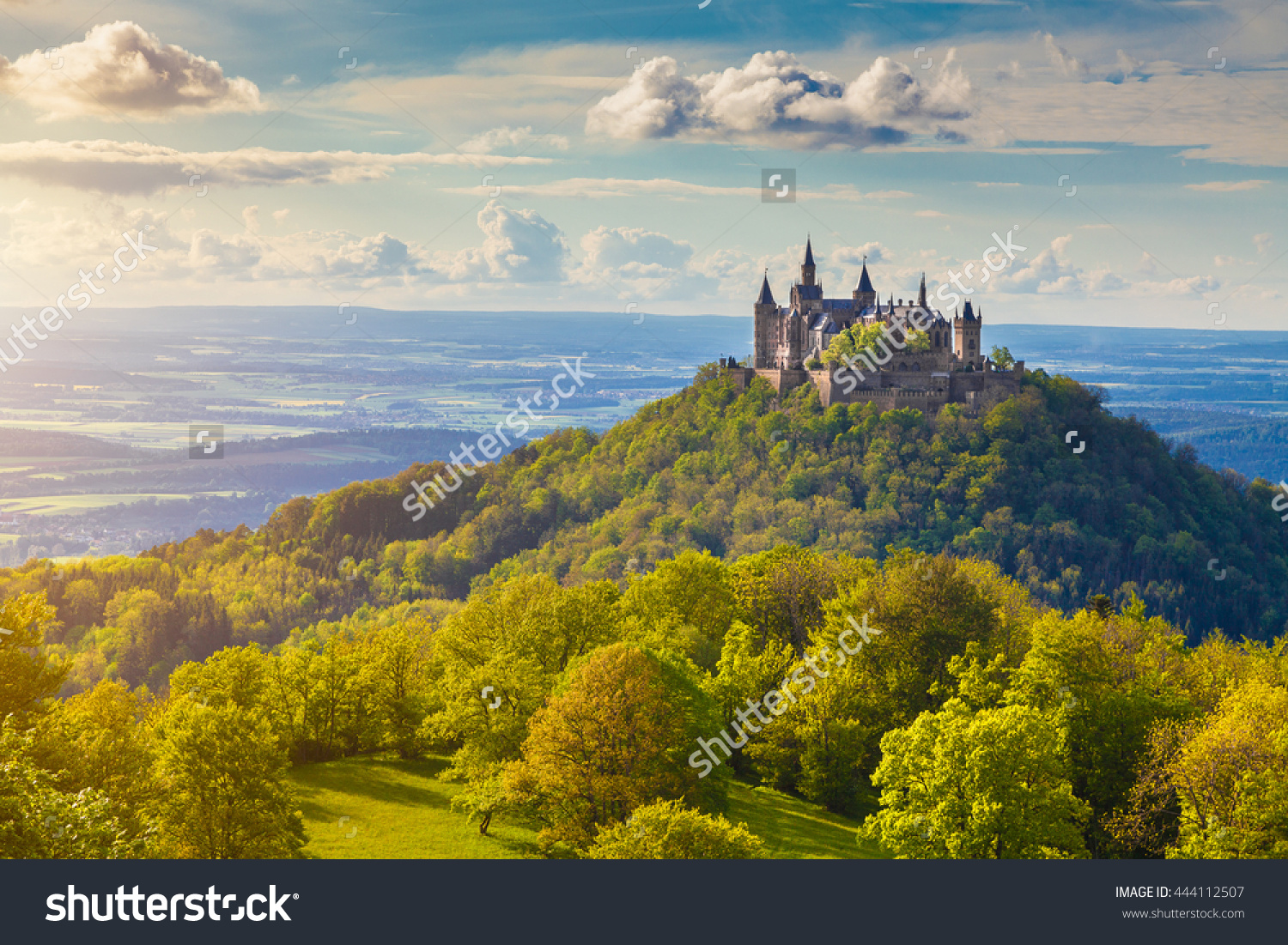 Aerial View Famous Hohenzollern Castle Ancestral Stock Photo.