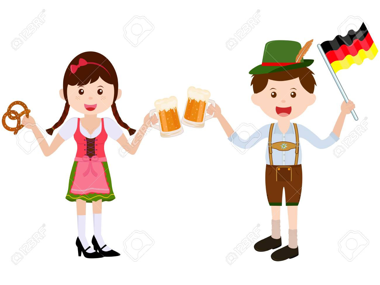 Vector illustration of cute cartoon girl wearing German Dirndl...