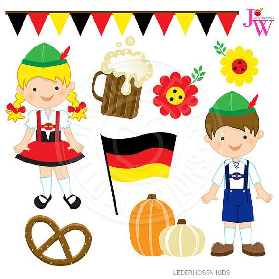Lederhosen Kids Cute Digital Clipart by JWIllustrations on Etsy.