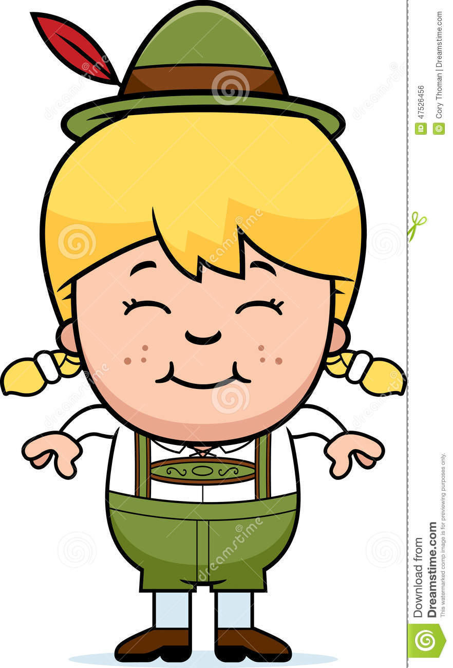 Smiling Cartoon Lederhosen Girl Stock Vector.