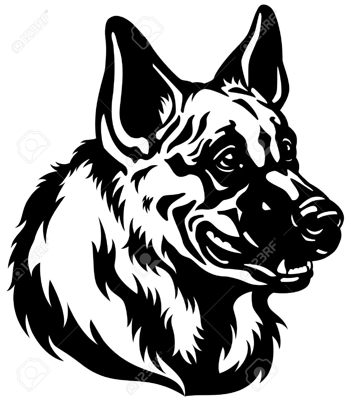 German long haired b w clipart #14