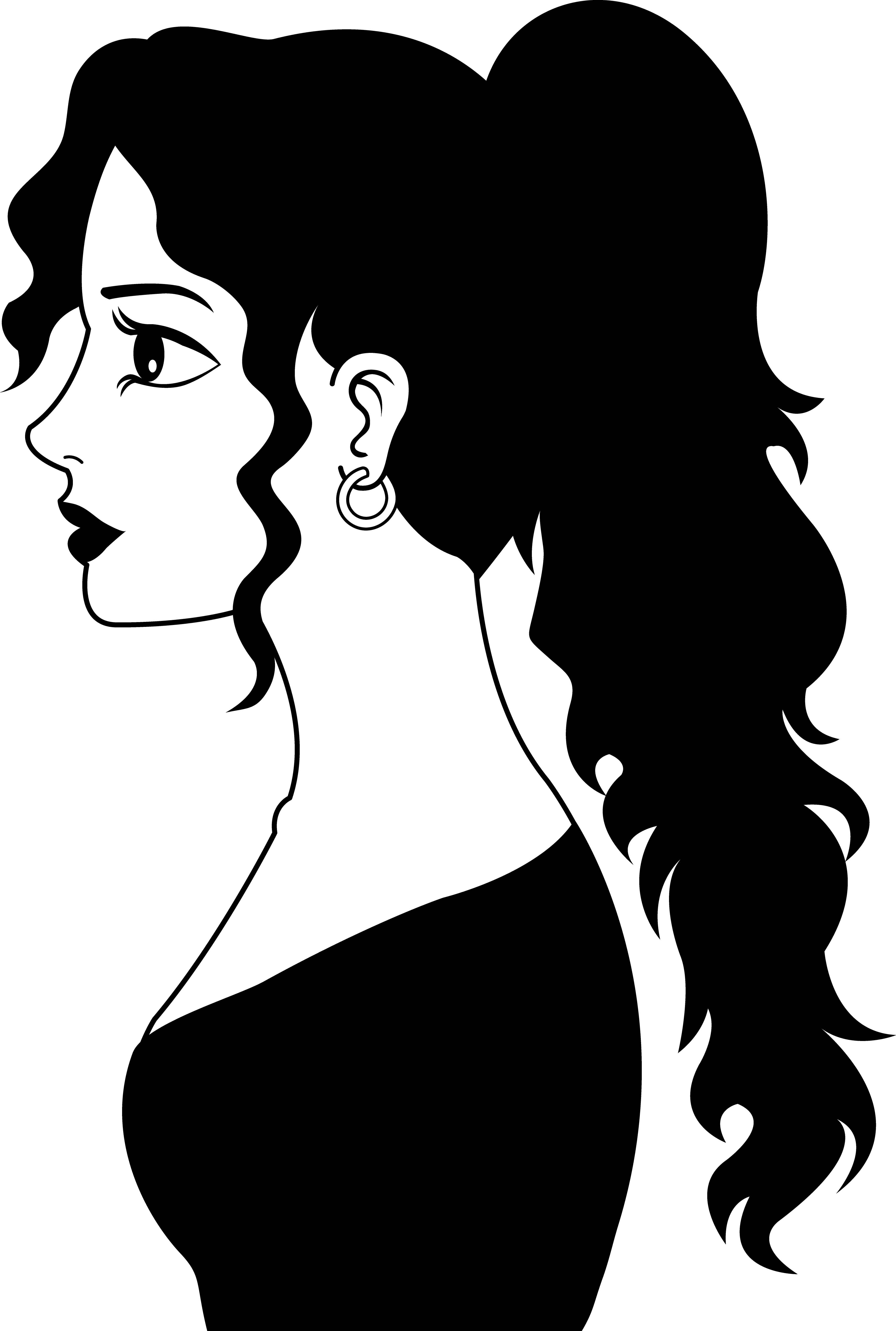 Woman clipart face long hair.