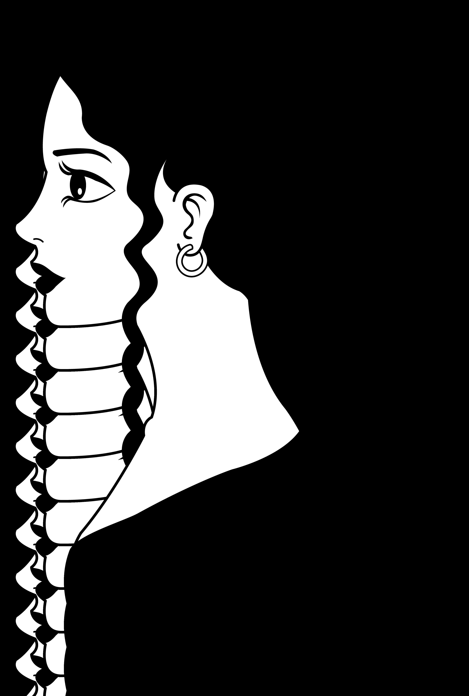 Woman clipart face long hair.