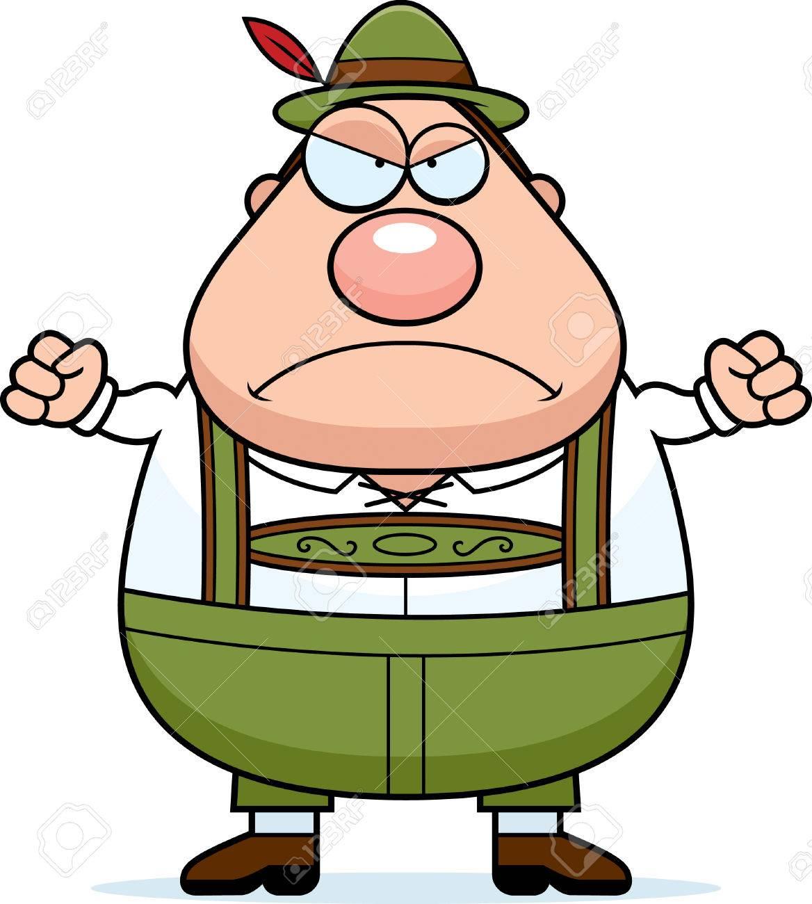 A cartoon illustration of a German man in lederhosen looking...