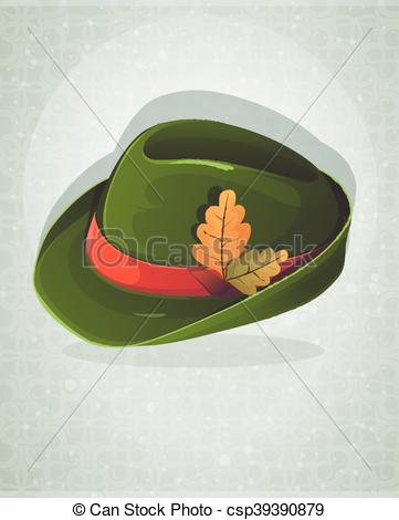 Vectors Illustration of Oktoberfest hat with oak leaves.