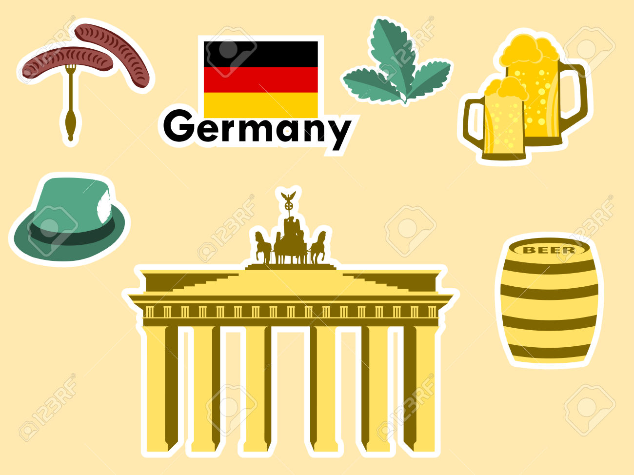 German Stickers, Germany Symbols, The Brandenburg Gate, Beer.