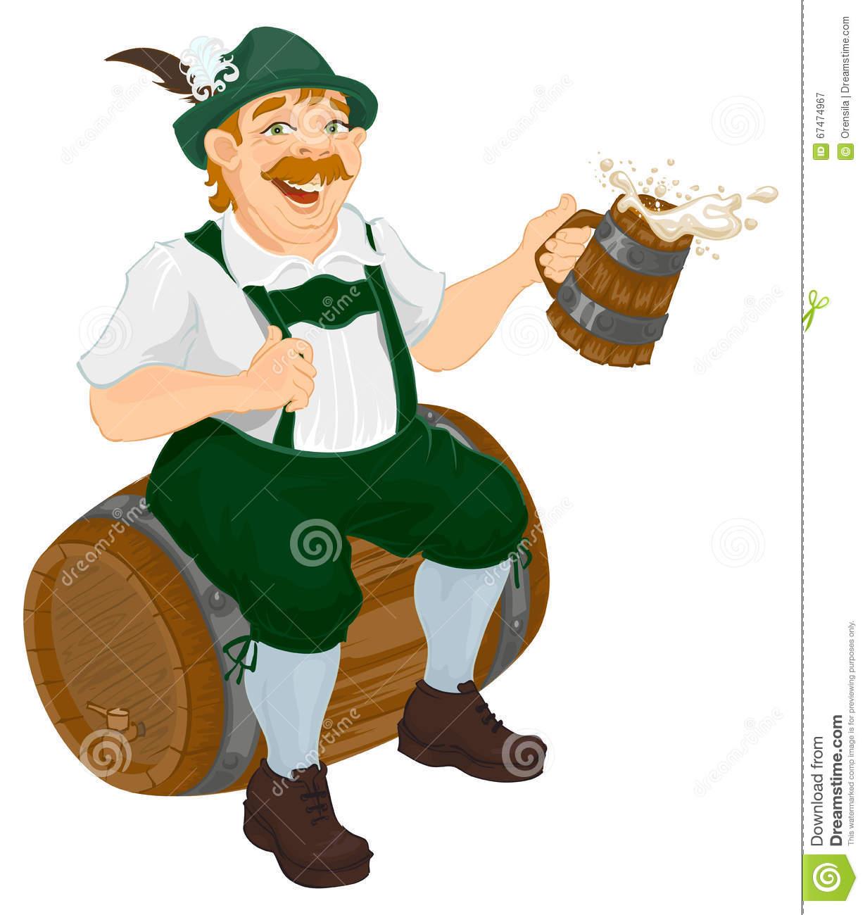 German Man Sits On An Oak Barrel And Holding Wooden Beer Mug.