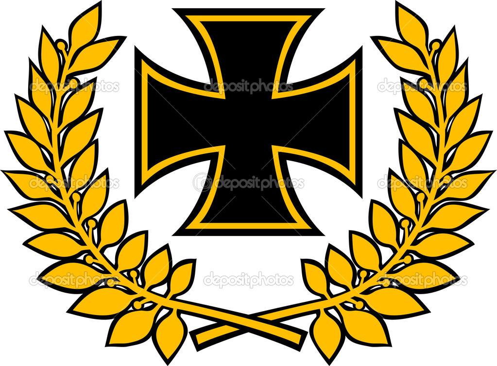German iron cross and oak wreath (iron cross emblem, symbol.