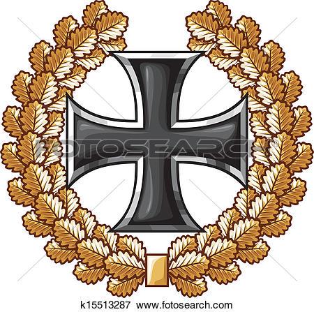 Clip Art of german iron cross and oak wreath k15513287.
