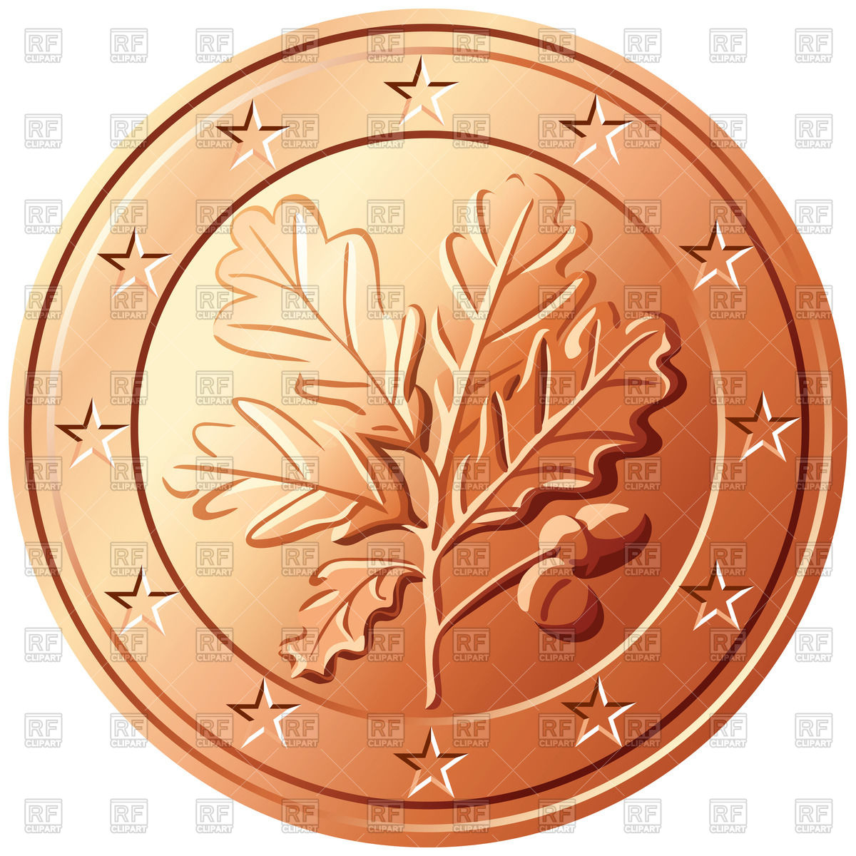 German coin with oak leaf.
