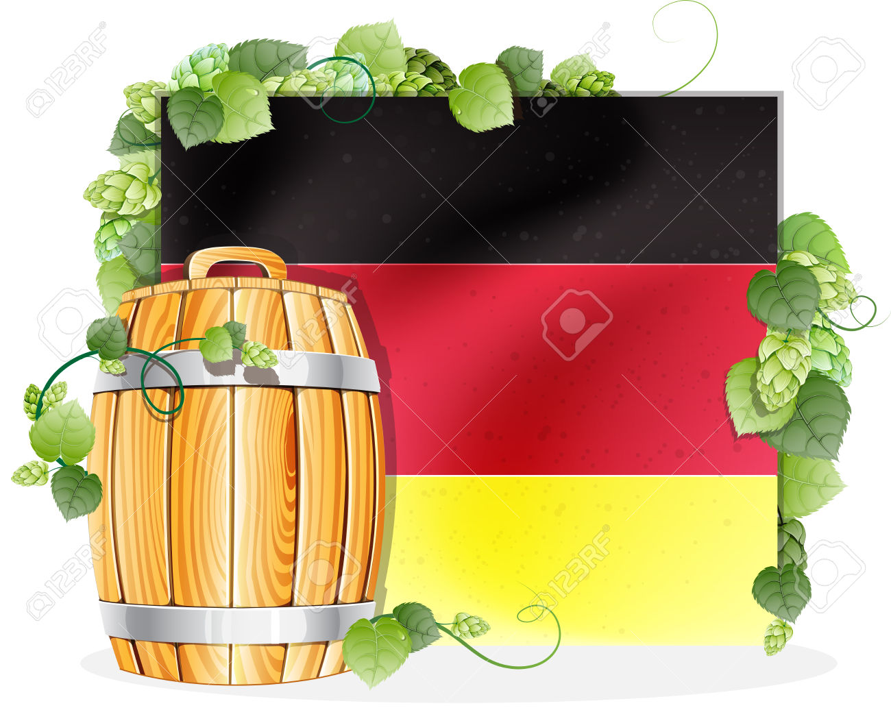 Oak Wooden Beer Barrel On The Background Of The German Flag.