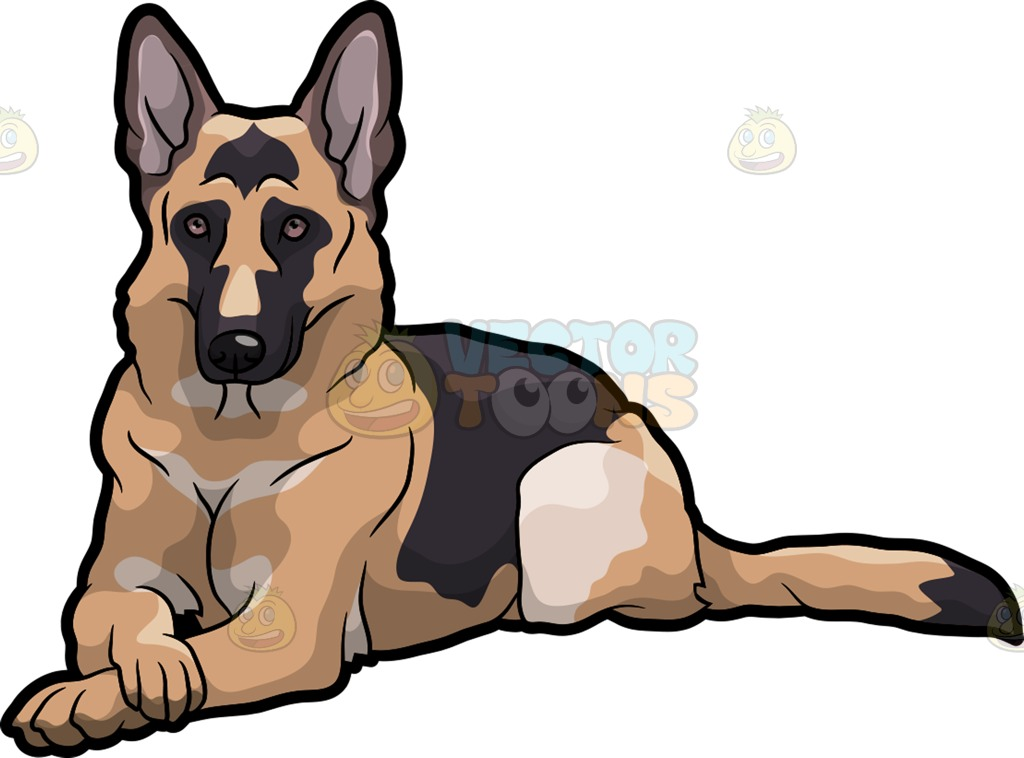 A German Shepherd Dog Lying Down With Its Paws Crossed Cartoon Clipart.