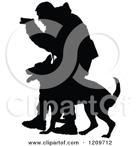 Clipart of a Silhouetted Police Officer and K9 German Shepherd Dog.