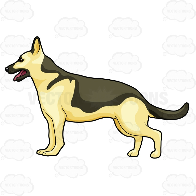 Vector Police Dog German Shepherd Clipart.
