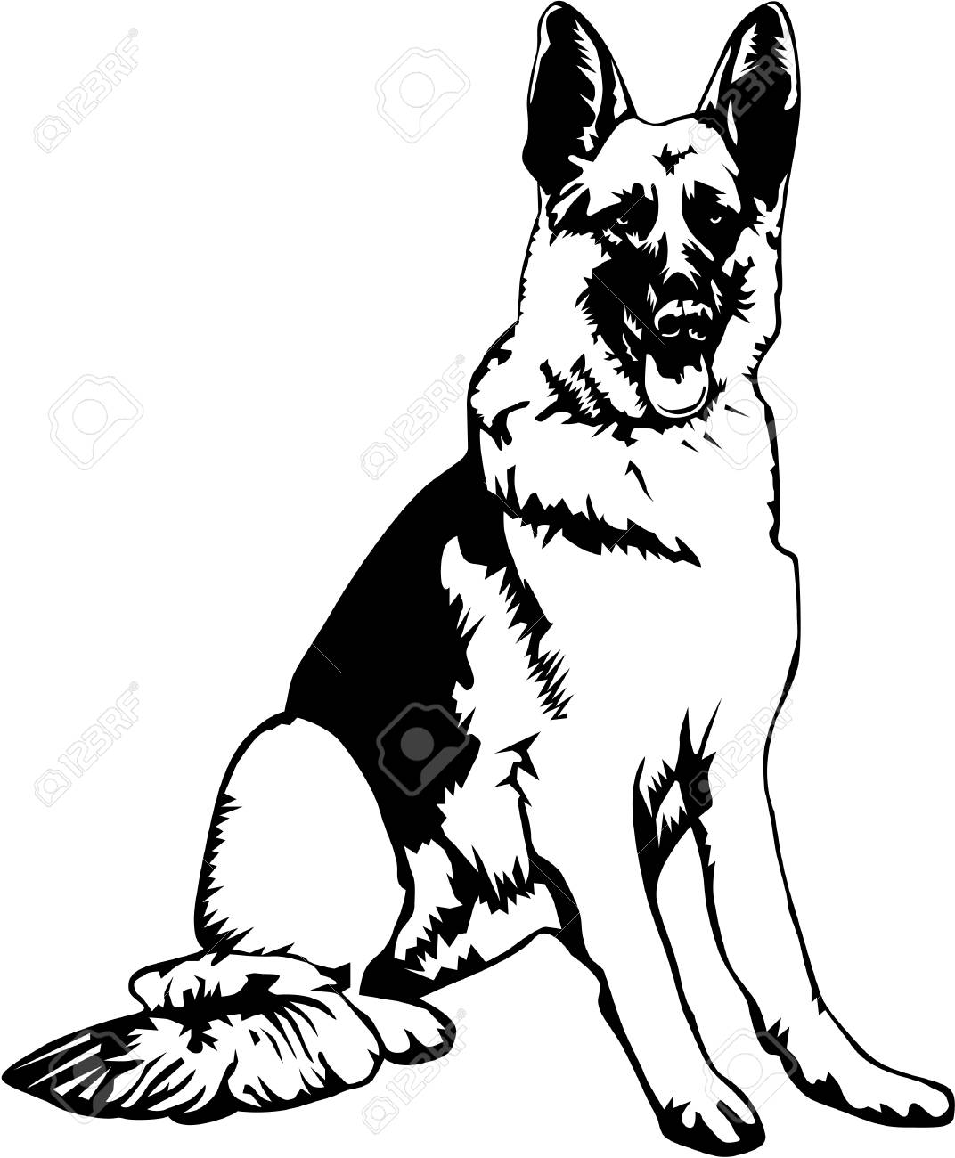 German shepherd clipart black and white 4 » Clipart Station.