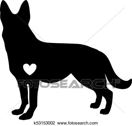 Black silhouette of german shepherd dog with white heart standig sideway  Clipart.