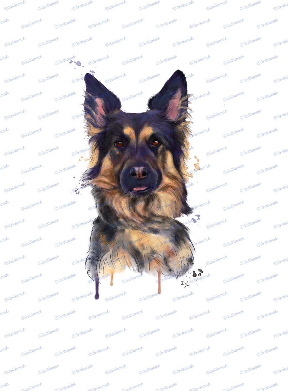 Dog clipart digital art Printable art German Shepherd clipart dog.