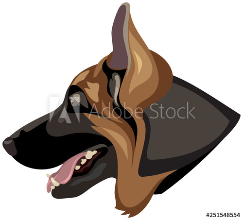 German Shepherd dog head profile color vector illustration.