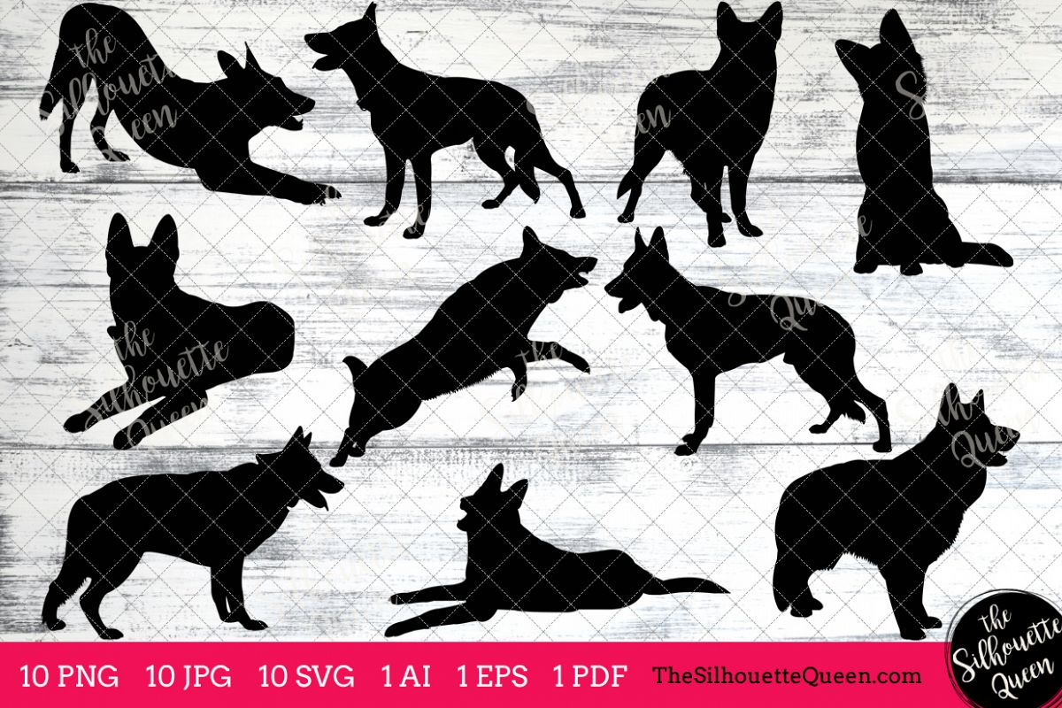 German Shepherd Dog Silhouettes Clipart Clip Art (AI, EPS, SVGs, JPGs,  PNGs, PDF) , German Shepherd Vectors.