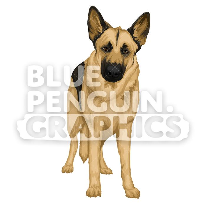 German Shepherd version 9 Vector Cartoon Clipart Illustration.