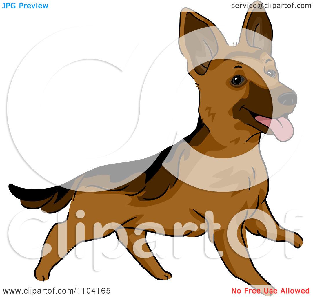 Clipart Happy Playful German Shepherd Dog.