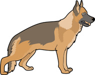 German shepherd animated clip art.