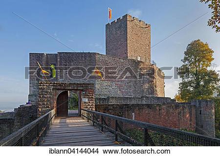 Stock Photo of Castle ruin Landeck, Klingenmunster, German Wine.