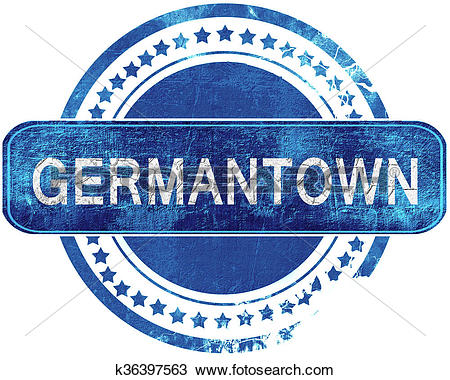 Drawing of germantown grunge blue stamp. Isolated on white.