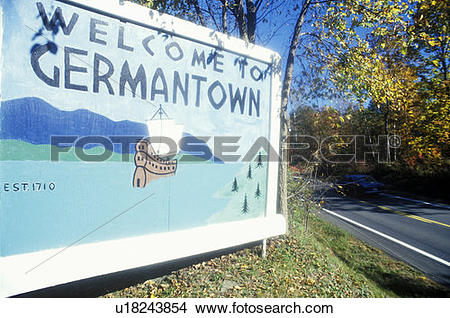 Stock Photo of Welcome sign at entrance to Germantown u18243854.