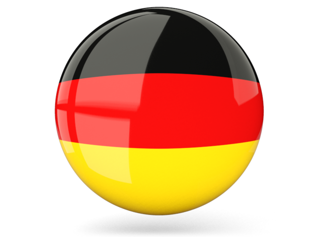 Glossy round icon. Illustration of flag of Germany.