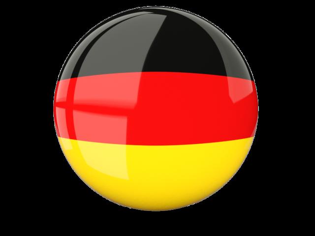 Glossy round icon. Illustration of flag of Germany.