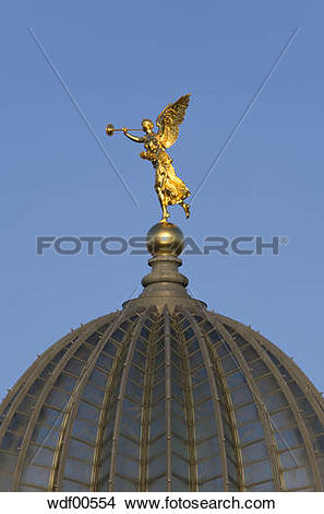 Stock Photo of Germany, Dresden, Golden angle on cupola of the.