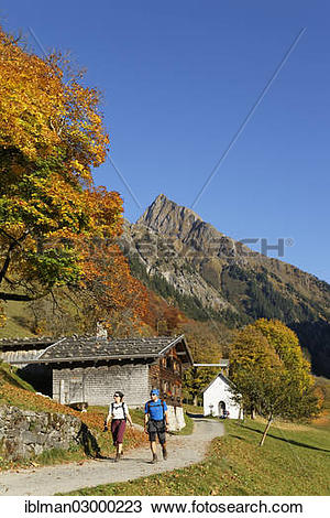"""Stock Photo of """"Gerstruben with Hoefats mountain in autumn."""