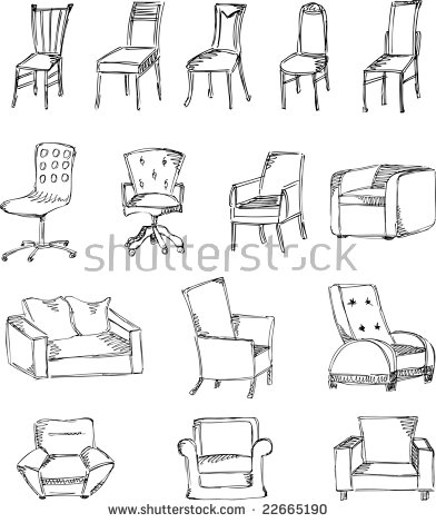 Sketch Stools And Chairs(Set 4) Stock.
