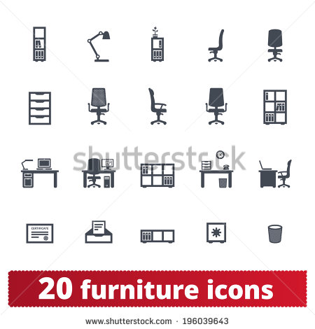Furniture Icons: Office, Private Workplace And Workspace Vector.