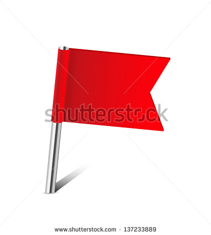 Red Flag Map Pin On White Stock.