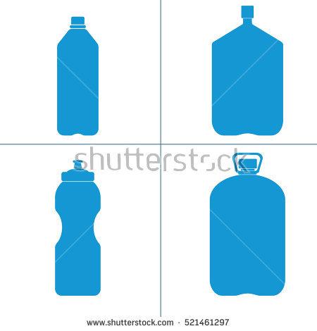 Set Blue Silhouette Plastic Bottles Water Stock.