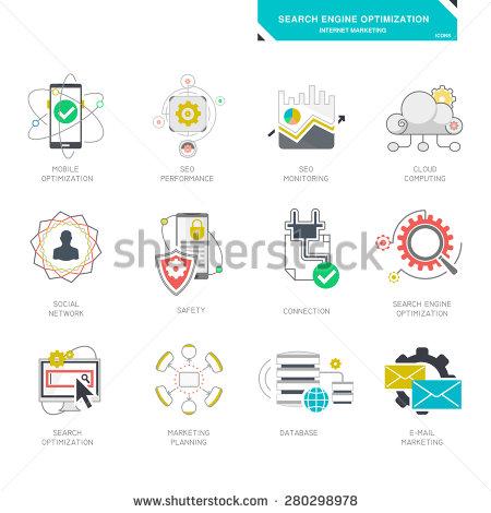 Line Icons Set Global Business Partnership Stock.