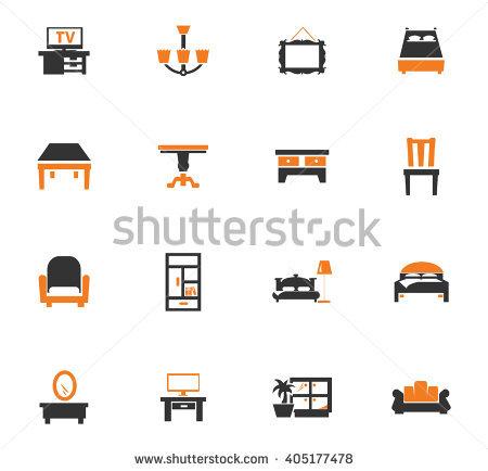 64 Elegant Vector Furniture Icons Set Stock.